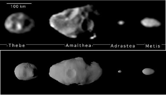 Альматея и 3 её ближайших соседа на орбитах вокруг Юпитера. Снимок сделан со автоматической станции «Галилео»