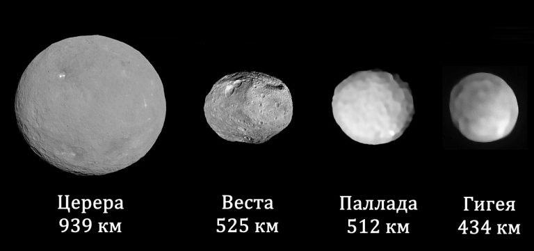 4 самых больших астероида из главного пояса: Церера, Веста, Паллада и Гигия. Их орбиты неплохо известны, да и вообще - за этими здоровяками всегда ведется непрерывное наблюдение. Угрозы для Земли они не представляют