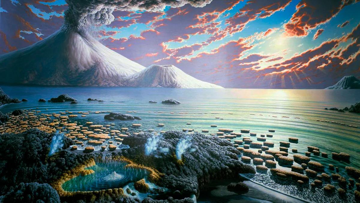 В далеком геологическом прошлом, природа планеты Земля мало напоминала наше время. Основными газами атмосферы были азот и метан
