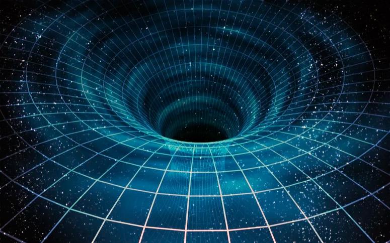 """Схематичное искажение """"ткани пространства"""" под воздействием гравитации черной дыры"""