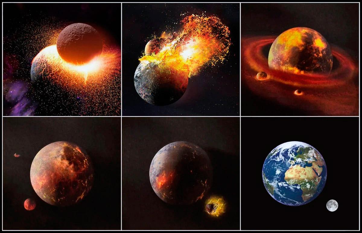 Процесс формирования нынешнего вида Земли и Луны: столкновение с Теей и постепенное формирование осколков в единое космическое тело