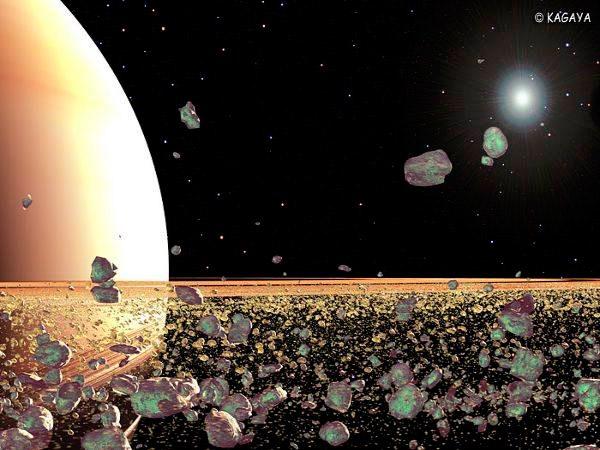Примерно так (художественное изображение) выглядят кольца Сатурна, если бы мы могли рассмотреть их вблизи