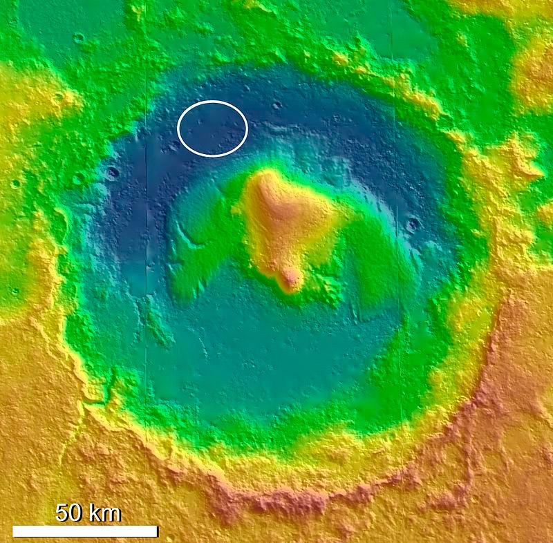 Кратер Гейла на Марсе, овалом обозначено место где приземлился марсоход «Куриосити» в 2012 году