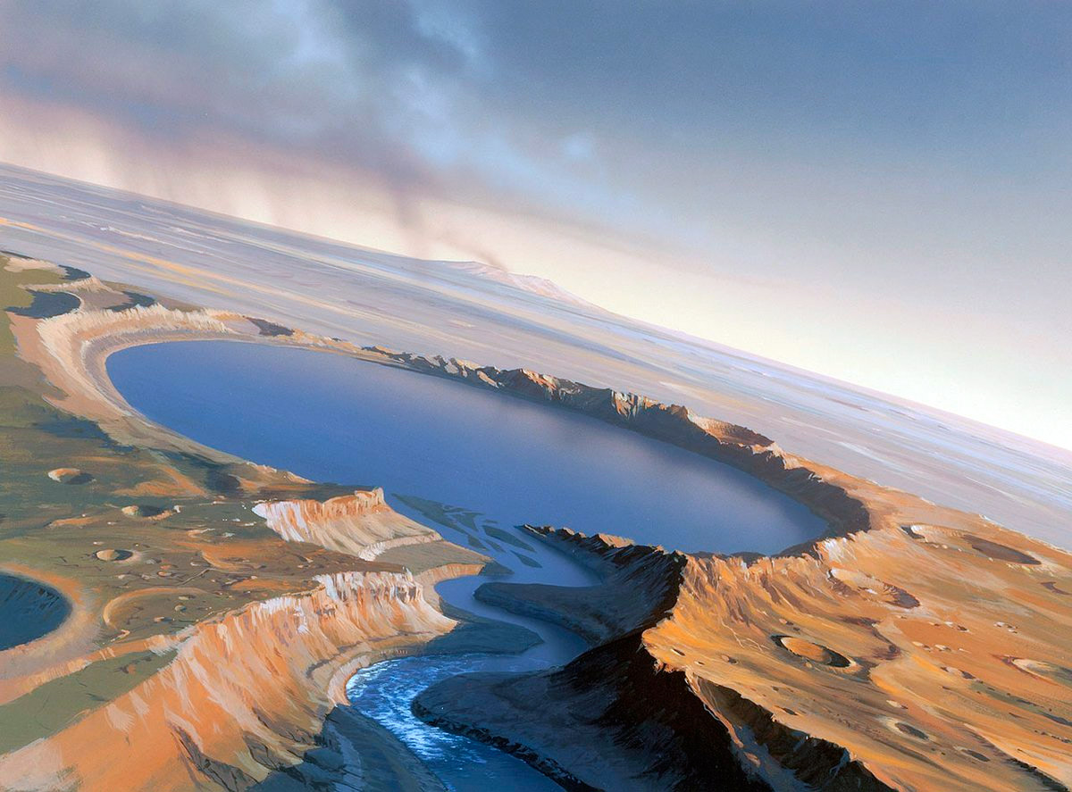 Озеро в марсианском кратере и вытекающая из него река, в представлении художника