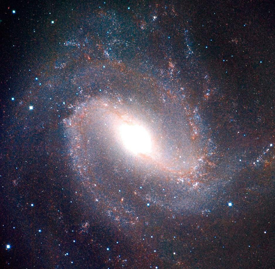 Снимок галактики M83 в инфракрасном диапазоне. Хорошо заметен вытянутый, а не шарообразный балдж