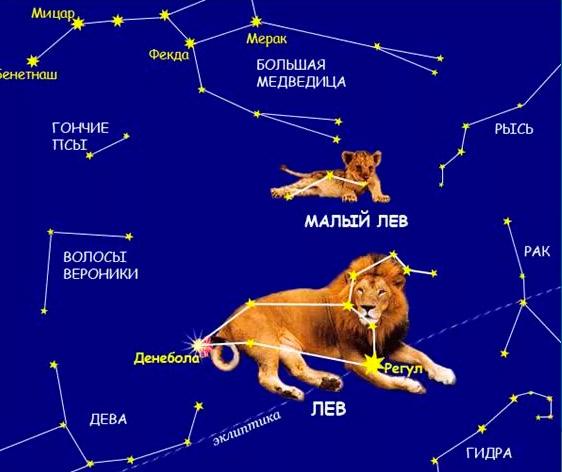 Ещё одна схема расположения созвездия Льва и Малого Льва относительно друг друга