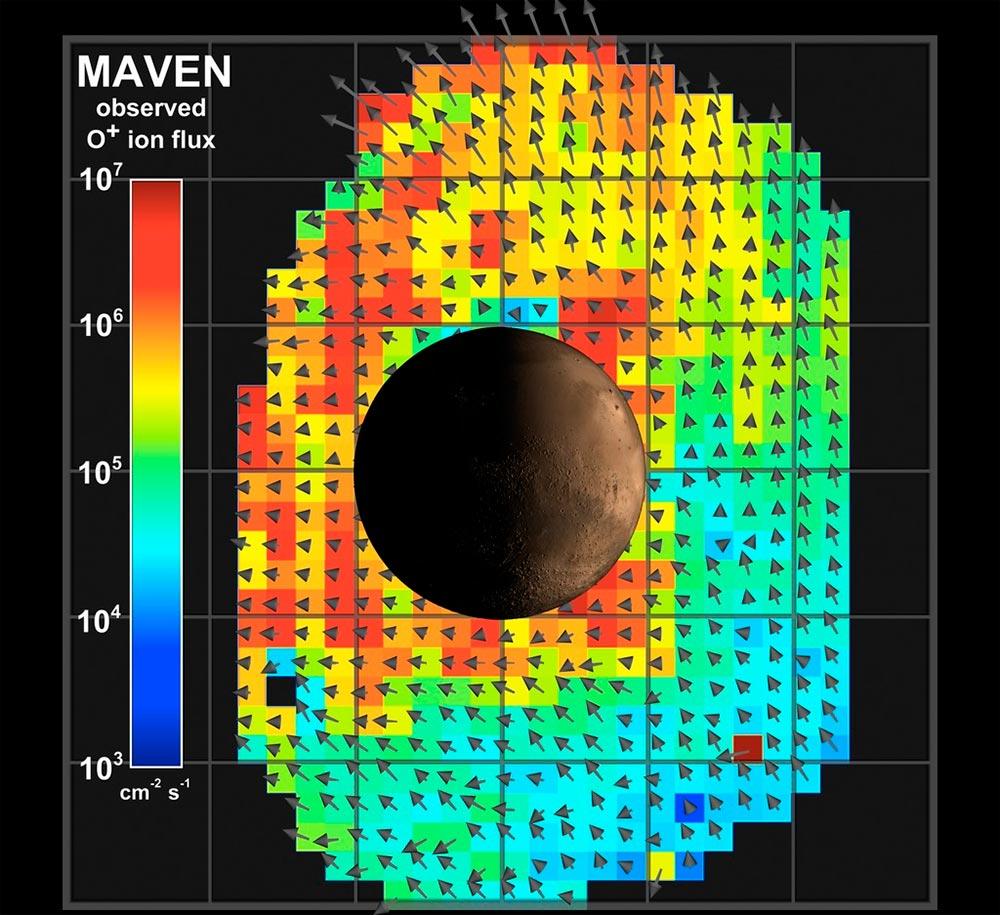 Модель показывает области наибольших потерь Марсом ионов кислорода.