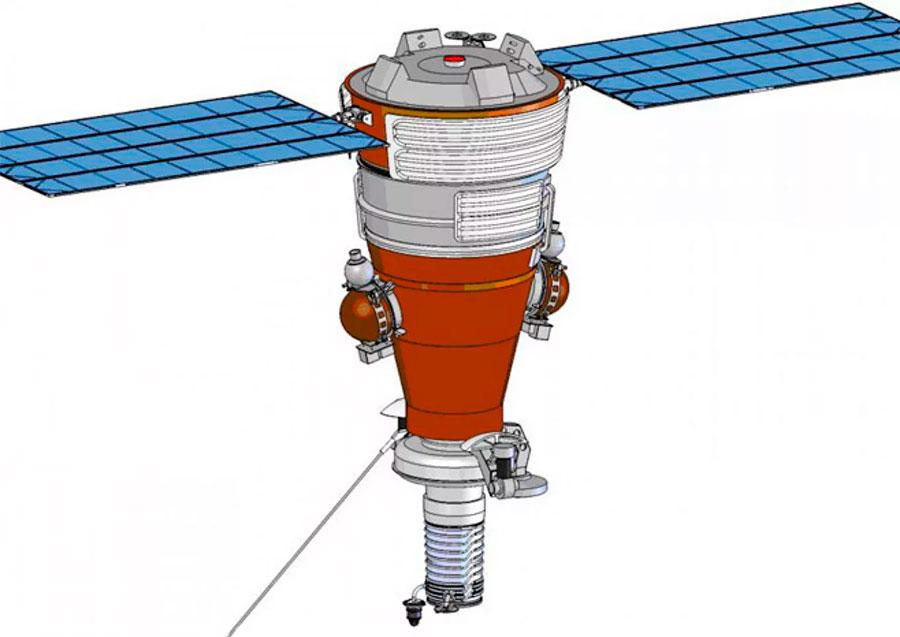 Разведывательный спутник «Янтарь-2К» в рабочем положении с развернутыми солнечными батареями