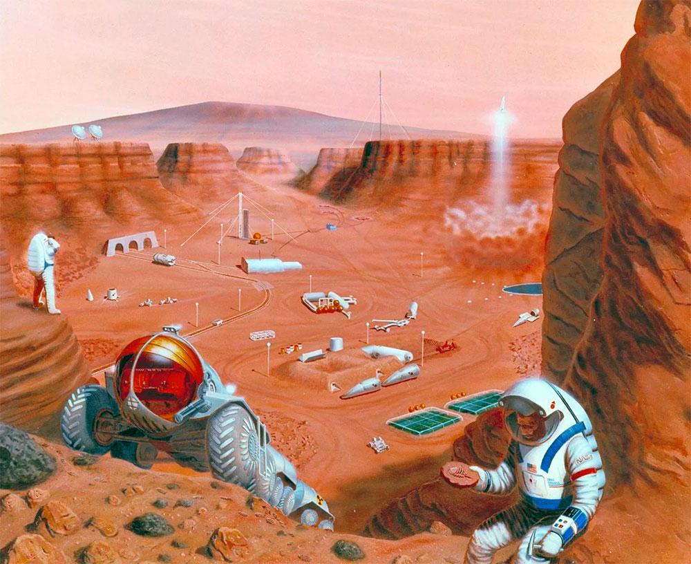 В фантазиях художников колония на Марсе выглядит так