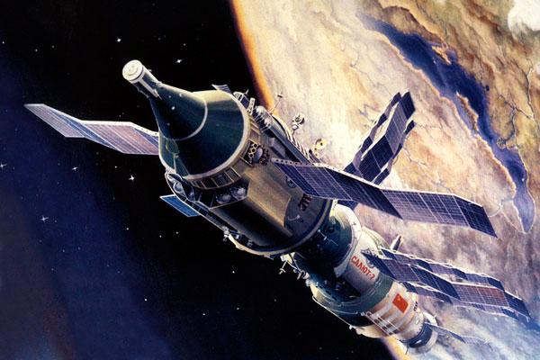 Так в представлении художника выглядела стыковка Транспортного корабля снабжения (ТКС) и станции «Салют-7»
