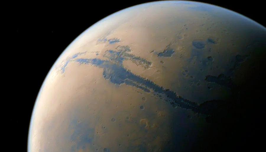 Долина Маринера на Марсе - судя по всему это и есть граница двух тектонических плит красной планеты. Своеобразный марсианский «разлом Сан-Андреас»