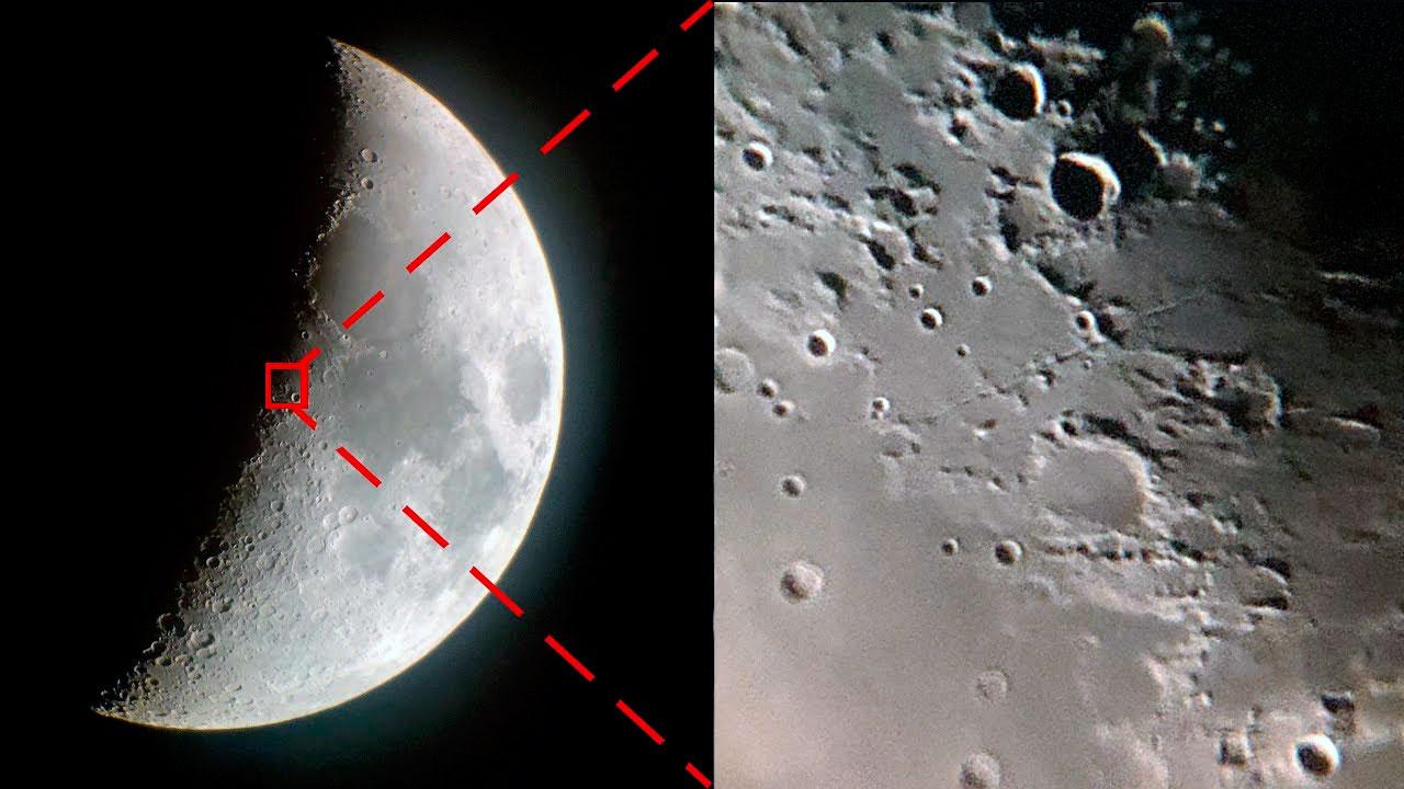 Участок поверхности Луны с увеличением в 350 крат