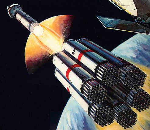 Примерно так должна была выглядеть ракета-носитель OTRAG по задумке автора.