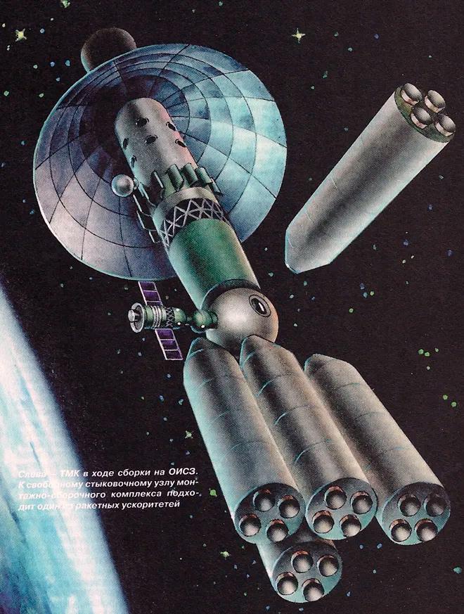 Сборка марсианского тяжелого межпланетного корабля на орбите Земли