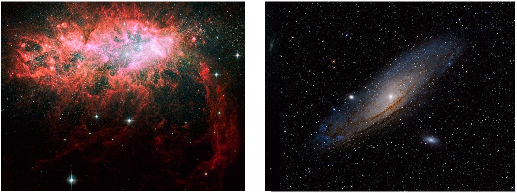 Слева неправильная галактика NGC 1569, а справа спиральная M31
