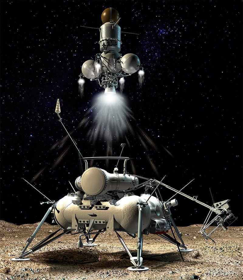Луна-16, показан момент взлета возвращаемого аппарата, который привез на Землю образцы лунного грунта