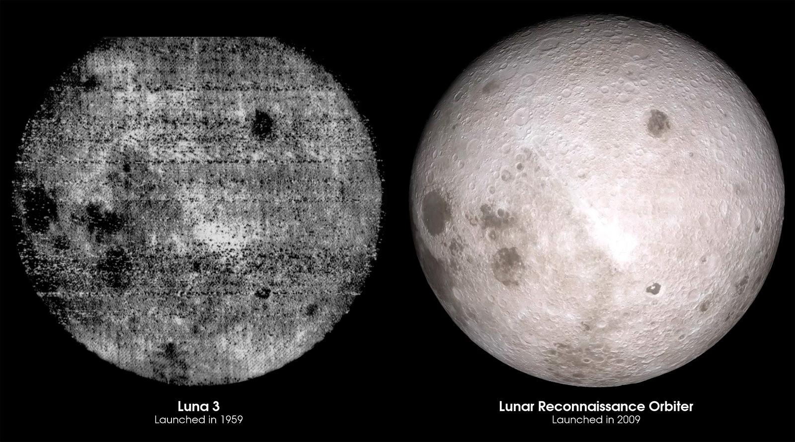Фото обратной стороны Луны сделанное Луной-3 (слева) и лунным орбитальным модулем (LRO).