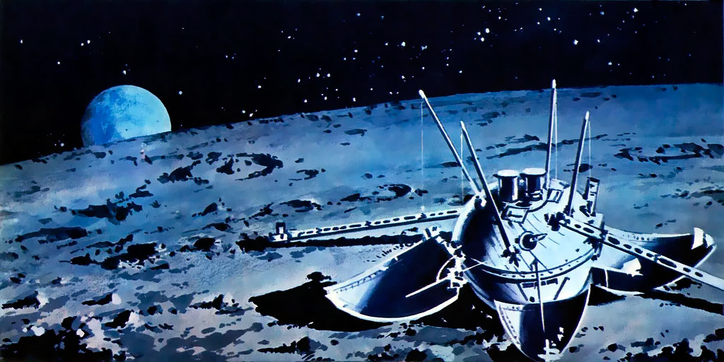 Стация Луна-9 успешно прилунившаяся на поверхности спутника нашей планеты