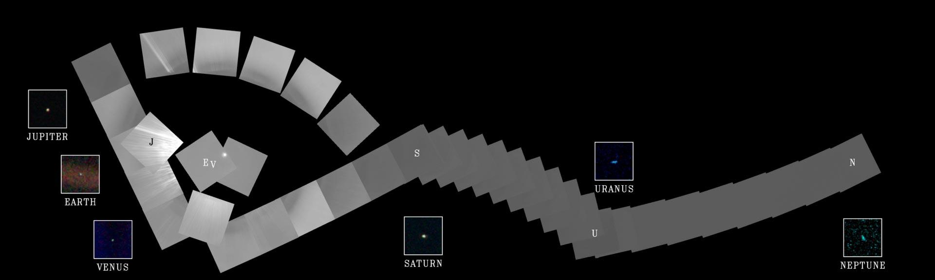 Семейный портрет планет солнечной системы сделанный «Вояджером-1»