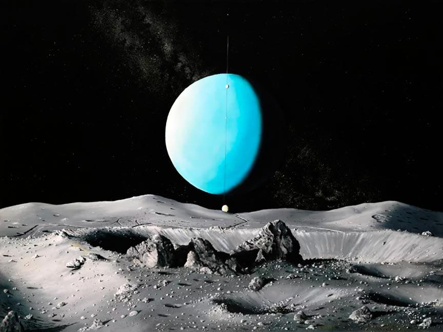Вид на Уран с поверхности Оберона