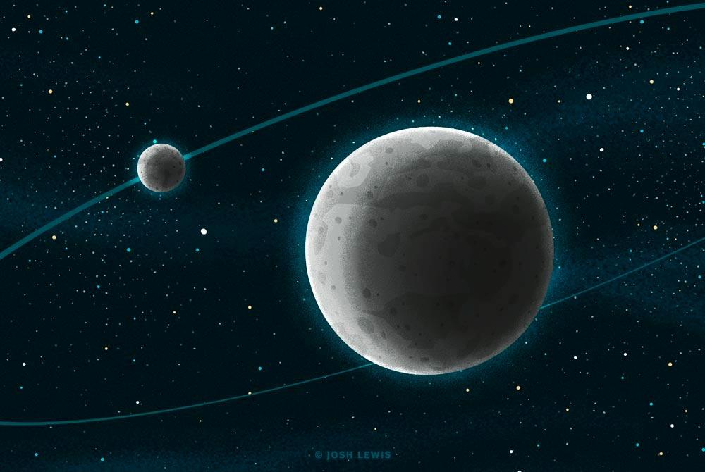 карликовая планета Эрида и её спутник Дисномия в воображении художника