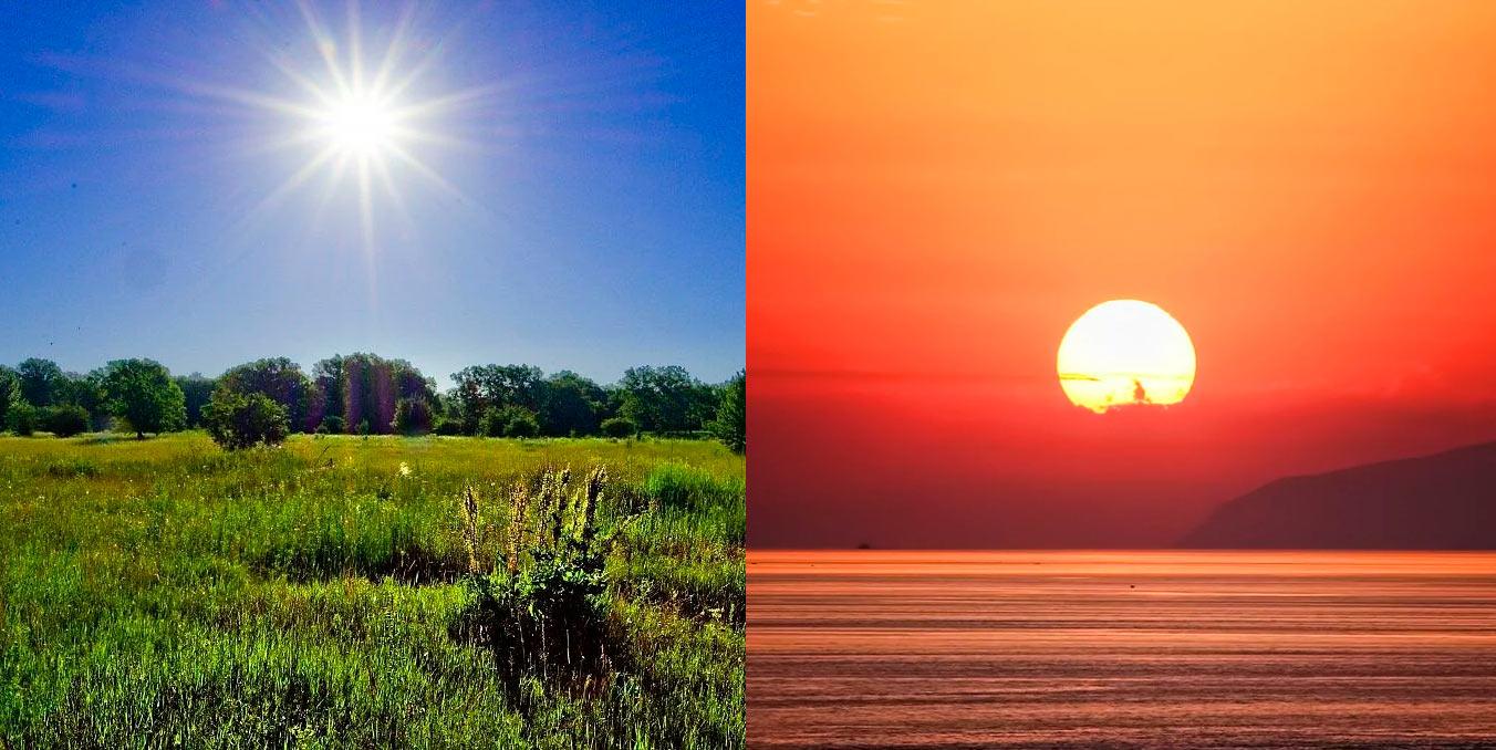 почему вечером цвет неба и солнца красный