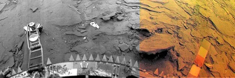 Снимок с АМС «Венера-13». Хорошо видно, что почва планеты представляет собой спекшийся расплав