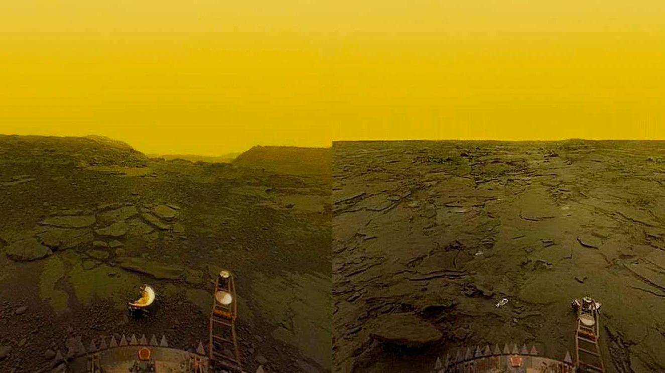плотная атмосфера венеры и вид поверхности планеты